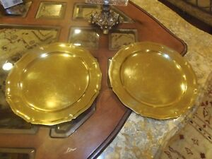 Antique Tiffany Co Sterling Silver Gilt 2 Large Charger Plates Cr 1910