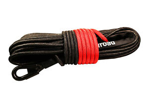 Synthetic Winch Rope Line Cable Black 7 16 X 150 30000 Lb With Rock Guard