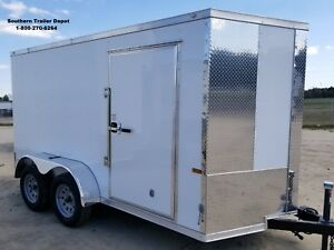 Enclosed Cargo Trailer Haulstar 6x12 6 X 12 Ta Ramp V nose Motorcycle 10 14