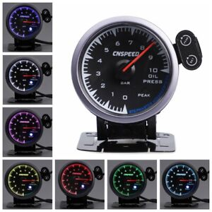 2 5 60mm Electric Oil Pressure Gauge Kit Digital Bar Meter With Sensor 7 Color