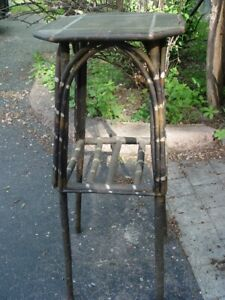 1920 S Adirondack Bentwood Twig Painted Cabin Table Plant Stand W Shelf