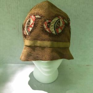 Vintage 1920s Flapper Woven Cloche Hat Embroidered Extraordinary