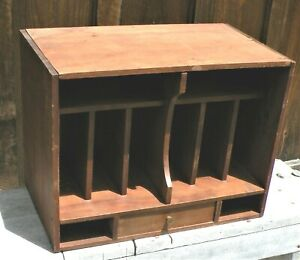 Wood Desk Top With Cubby Holes Vintage Storage display Compartments One Drawer