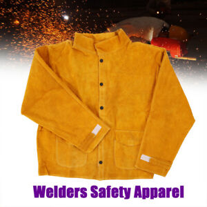 Welders Safety Apparel Welding Coat Protective Apron Apparel Yellow Durable New