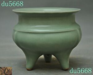 Old Chinese Temple Longquan Official Kiln Porcelain Tripod Incense Burner Censer