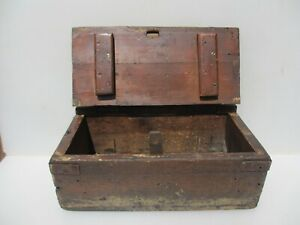 Large Vintage Wooden Chest Box Antique Storage Trunk Old Crate Wood Lock Box 18
