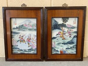 Estate Old House Chinese Antique Painting On Porcelain Plaque Of Warriors Tile