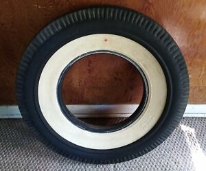 Rare Vintage Socony Mobil Deluxe 15 Rayon Tire 8 00 15 White Wall Pie Crust Cut