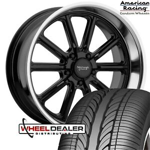 20 American Racing Black Vn507 Rodder Wheels Tires Chevy Gmc C10 5 Lug Truck