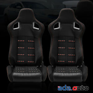 2x Full Reclinable All Black Cloth Suede Racing Seats Single Adjustor Slider