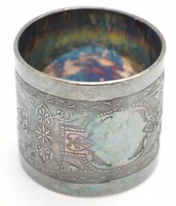 Vintage Napkin Ring Silver Plate Stamped Deco Design Can Be Monogrammed