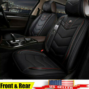 Us 6d Leather Microfiber Seat Covers Full Surrounded Black red For 5 Seat Car