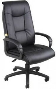 Boss Office Products Executive Leather Plus Chair W Padded Arm