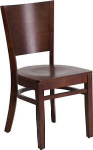Flash Furniture Lacey Series Solid Back Walnut Wooden Restaurant Chair Chair New