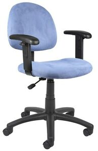 Blue Microfiber Deluxe Posture Chair With Adjustable Arms B326 be