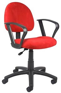 Boss Office Boss Red Microfiber Deluxe Posture Chair W Loop Arms B327 rd New