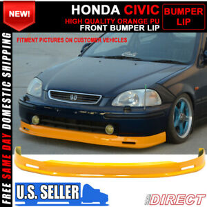Fits 96 98 Honda Civic Mugen Painted Orange Front Lip Spoiler Polyurethane Pu