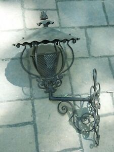 Large Cast Iron Decorative Ornate Wall Porch Sconce Electric Light Lamp