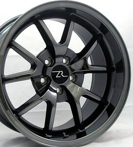 18 Black Chrome Mustang Fr500 Replica Wheels Staggered 18x9 18x10 5x114 3 05 14