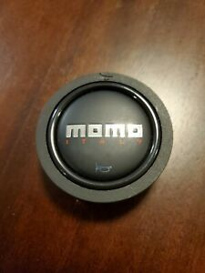Momo Horn Button Steering Wheel Black W Red Italy Lettering Free Shipping