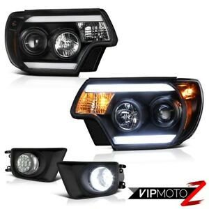 12 15 Toyota Tacoma X runner Foglights Matte Black Projector Headlights Led Drl