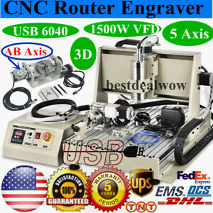 Usb 6040 5axis Cnc 1500w Router Engraver Metal Milling Carving Engraving Machine