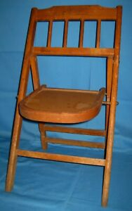 Vtg Antique Small Wood Wooden Folding Collapsible Childs Chair