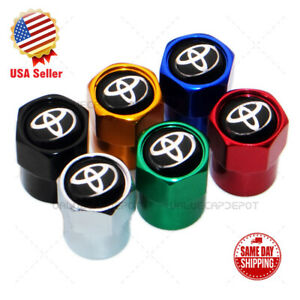 Hex For Toyota Logo Emblem Car Wheels Tire Air Valve Caps Stem Dust Cover Sport