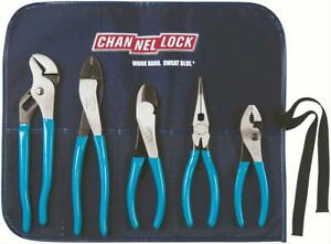Channellock Pliers High Carbon Steel Blue Grip Red Toolroll Set Of 5 Toolroll 1