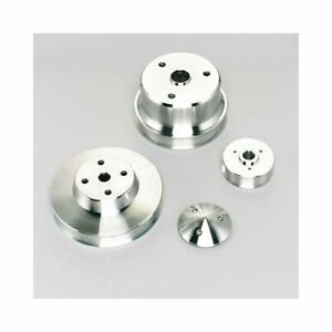 March Pulley Set Serpentine Aluminum Clear Powdercoated Chevy Small Block Setof3