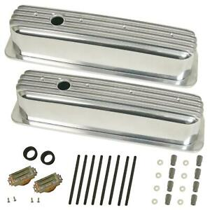 Cal Custom Valve Covers Aluminum Polished Tall Finned Chevy 5 0 5 7l Pair