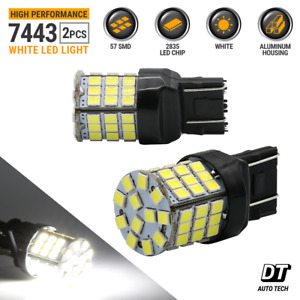 New 7443 7440 Led White 6000k Reverse Turn Signal Drl Parking Light Bulbs 57 smd