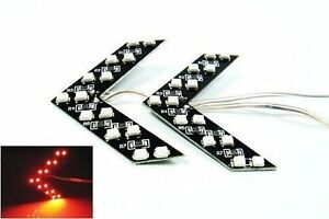 2x Red Smd Led Arrow Panel Car Rear View Side Mirror Turn Signal Indicator Light