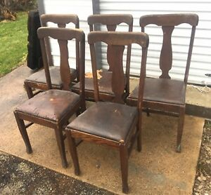 Set Of 5 Antique Solid Wood Dining Chairs Thomasville Chair Co Oak Side Vintage