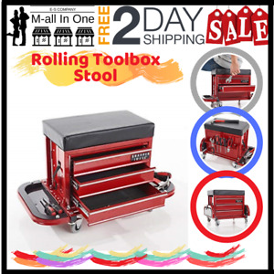 Esmall Sharper Image Rolling Toolbox Stool Automotive Shop Car Truck Maintenance
