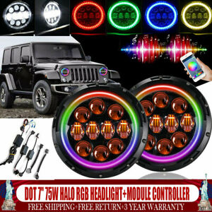 Fit Jeep Wrangler Jk 07 17 18 7inch Led Rgb Color Halo Headlights Combo Function