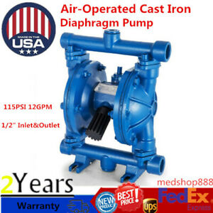 Air operated Double Diaphragm Pump Blue Cast Iron 12gpm 1 2 inlet