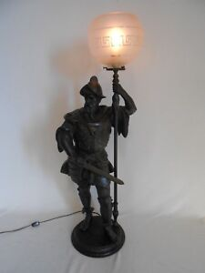 Antique 1800 S Large Figural Gas Newel Post Lamp Of Knight 2 5 8 In Gas No Shade