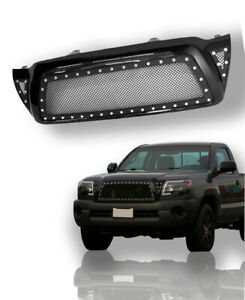 For 2005 2011 Toyota Tacoma Front Grill Stainless Steel Rivet Mesh Gloss Black