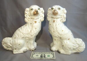 Pair Old Antique 19c Staffordshire Pottery Big 12 Spaniel Dog Figurine Statues