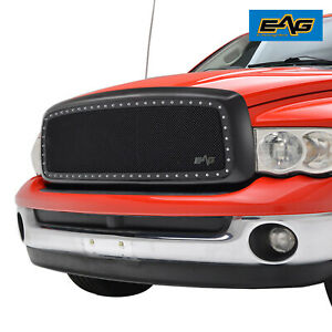 Eag Fits 02 05 Dodge Ram 1500 2500 3500 Chrome Mesh Rivet Replacement Grille