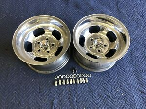 Vintage 15x8 5 Pair Polished Sprint Us Indy Mags Nice 5 On 4 3 4 5 On 5 Chevy