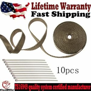 Titanium Exhaust Header Heat Wrap 1 X 50 Roll With 10pcs Stainless Ties Kit