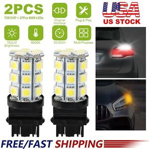 2 X 6000k White T25 3157 60w Led Light Bulbs For Backup Reverse Brake Drl Light