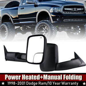 Tow Mirrors Fit 1998 99 00 2001 Dodge Ram 1500 2500 3500 Flip Up Power Heated