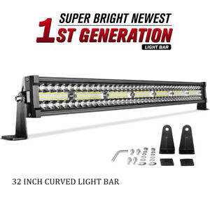 32inch Curved Led Light Bar 648w Tri Row Spot Flood Combo Offroad Truck Suv 30