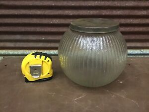 Unusual Antique Country Store Counter Textured Glass Candy Jar With Metal Lid