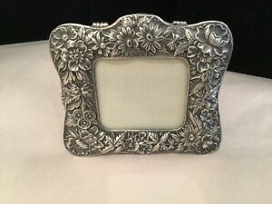 Antique Repousse Sterling Silver Floral Picture Frame Must See No Reserve Wow
