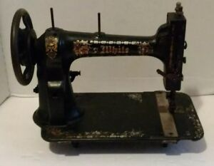 Vintage Antique White Sewing Machine 1 On Bottom Late 1800s