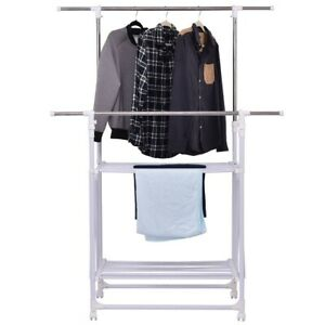 Home Adjustable Double Rail Folding Rolling Clothes Rack Hanger With 2 Shelves